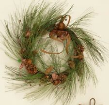 LONG NEEDLE Pine Christmas WREATH With RUSTY JINGLE BELLS, Gingham BOWS, NEW!