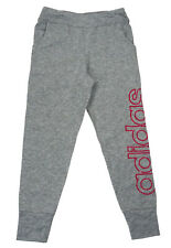 Adidas Little Girls 5 Gray Heather Hot Pink Logo Print Jogger Sweatpants NWT