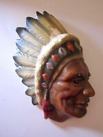 Figural Hand Painted Native American Indian Chief Wall Pocket Made in Japan