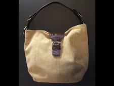 RALPH LAUREN Shoulder Bag Gold Suede Leather Classic Hobo