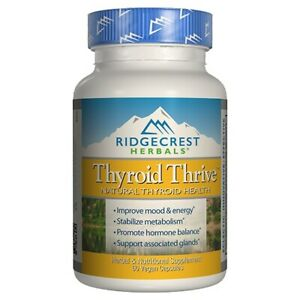 RIDGECREST HERBALS Thyroid Thrive Support Healthy Living 60 Vegetarian Capsules