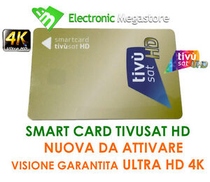 TESSERA SCHEDA SMART CARD TVSAT HD 4K TV SAT TIVUSAT HD TIVU'SAT DA ATTIVARE