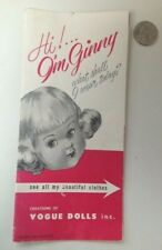 Vintage 1955 Ginny Doll & Clothes Accessories Price Guide Booklet