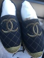 New Chanel Espadrilles Dark Navy Green Size 37
