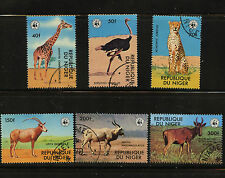 WWF African Animals Set of 6 stamps CTO 1978 Niger #447-52 Giraffe Cheetah Oryx