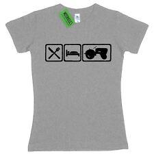 Ladies Eat Sleep Porsche Tractor Diesel Classic Vehicle Farm fitted T Shirt