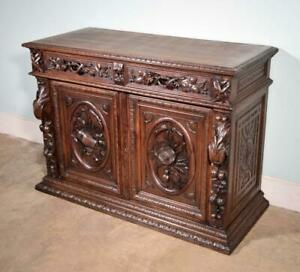 *French Antique Black Forest/Harvest Oak Sideboard/Buffet with Deep Carvings