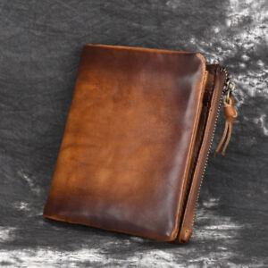 Vintage Men's Real Genuine Leather Zipper Wallet Bifold Coin Purse Card Holder