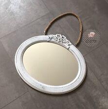 Spiegel Oval Natur Wandspiegel mit Kordel Landhaus Vintage 38x32 cm