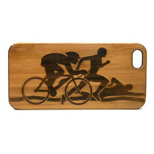 Triathlon Case made for iPhone 8 Plus phones Bamboo Wood Cover Swim Cycle Run