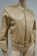 ARMANI JEANS Nude Beige Leather Zip Fastened Branded Collarless Bomber Jacket 10