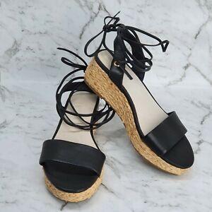 Witchery Della Wedge Platform Heel Sandal Black Leather Ankle Strap Size 36 AU 6