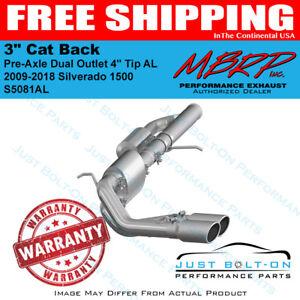 "MBRP 2009-2018 Silverado 1500 3"" Cat Back Pre-Axle Dual Outlet 4"" Tip AL S5081AL"