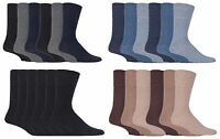 IOMI - Mens 6 Pack Wide Loose Top Non Binding Elastic Cotton Crew Diabetic Socks