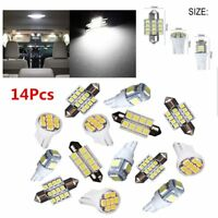 14 x White LED Interior Package Kit For T10 & 31mm Map Dome License Plate Light!