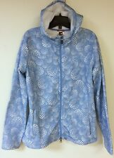 The North Face Women's Soft Shell Jacket Hood Blue White Circle Dot Zip Sz Large