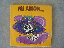 "XL Day of the Dead Handpainted Tile - Skeleton La Catrina ""Mi Amor"" - Mexico"