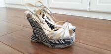 L K BENNETT Wedge Sandals Lydia Tribal Woven Heels Size 37 UK 4
