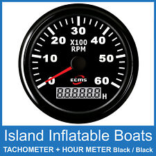 ECMS TACHOMETER 6000 RPM + DIGITAL HOUR METER ✱ BLACK on BLACK ✱ OUTBOARD GAUGE