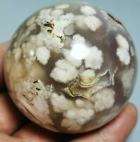 Natural Plume Flower Geode Agate Polished Crystal Sphere Ball From Madagascar
