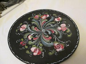 """Rosemaled Wood Black Plate 14"""" Norwegian Painting Rosemaling"""