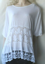 LV CLOTHING VISCOSE JERSEY KNIT WHITE LACE OVERSIZED LAGENLOOK TOP PLUS SIZE