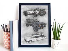 80s Movie Cars Art  Print Portrait - Back To The Future, Goonies, Ghostbusters