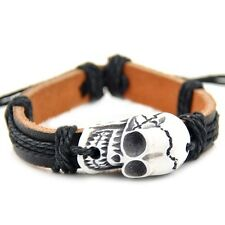 cool man boy leather bracelet Skull design S-29