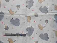 Fabric Camp Wee One Bear Hedgehog Beaver / White 1 yard Cotton Springs Creative