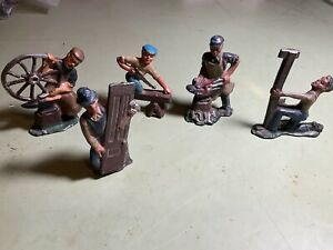 """Barclay Manoil Lead Toy Figures Workers Blacksmith Saw  Station 3"""" Tall Antique"""