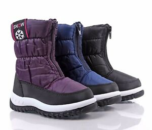 3 Color Water Resistant Round Front Unisex Girls Toddlers Kids Winter Snow Boots