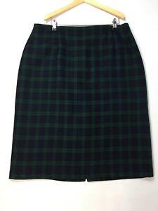 St Michael M&S Black Watch Wool Plaid Tartan Pencil Skirt UK 18  Green Blue Vtg