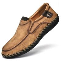 Mens Slip On Loafers Shoe Driving Flats Boat Shoes Casual Cowhide Handmade Shoes