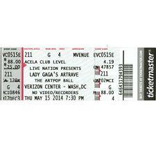 LADY GAGA Full Concert Ticket Stub WASHINGTON DC 5/15/14 THE ARTPOP BALL TOUR