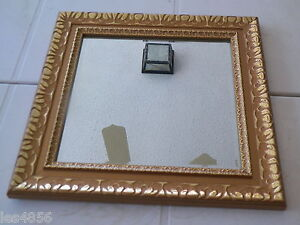"13 1/4"" SQUARE BEVELED MIRROR GOLD TONE FRAME VG"