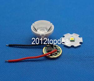 1set Cree XM-L LED T6 White Light + 3.7V Driver + Lens with Base Holder