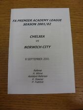 08/09/2001 Chelsea Youth U19 v Norwich City Youth U19  (4 Pages). Thanks for vie