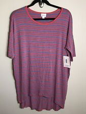 3108 NWT LuLaRoe IRMA TUNIC Shirt S SM SMALL Red Pink Blue Striped Stretchy