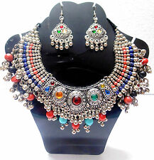 NEW KUCHI TRIBAL OXIDIZED NECKLACE BELLY DANCE VINTAGE JEWELRY INDIA GYPSY BOHO