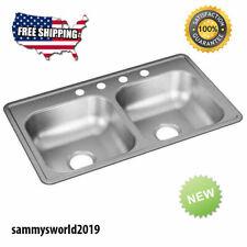 Drop In Sink 33 x 19 Stainless Steel Double-Basin Drop-in 4-Hole Kitchen Sink