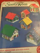 Vintage sealed 1997 Simply Wood Holiday Birdhouses - 6 Wood Ornaments Craft