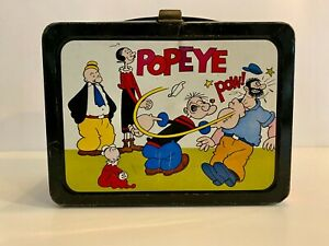 1962 Vintage Popeye Metal Lunch Box Without Thermos Nice Condition