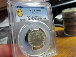 REGISTRY - 1916 GEM BARBER QUARTER   PCGS  MS-65  ALL WHITE & 43 BETTER AT PCGS