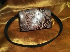 "'The Limited' Snakeskin Pattern Leather & Blk Fabric Handbag/Club Purse 5""x8""x2"