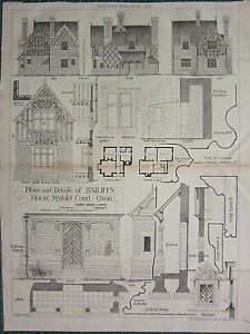 1877 DATED ARCHITECTURAL PRINT BAILIFF'S HOUSE WYFOLD COURT OXON PLAN & DETAILS