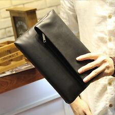 Men's Black Clutch Bag Small Hand Bag Soft PU Leather Envelope Bag Purse New