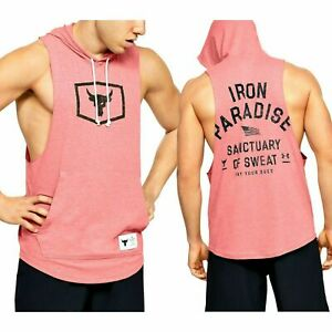 Under Armour Project Rock Sleeveless Hoodie Quick Dry Tank Top Pink Men's XXL