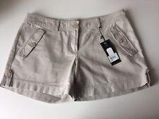 Kangol Damas Pantalones Cortos Size Uk 14/16, Marrón, Beige, bolsillos, botones, cierre de cremallera