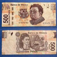 🎉Birthday 1974 Fancy Serial Frida $500 Mexican Peso Mexico P-126n.1 2017 F+