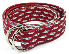 Vineyard Vines Mens D-Ring Belt Size Medium 32-34 Fish Red